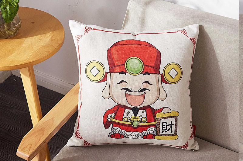 FN-R746中国年亚麻抱枕