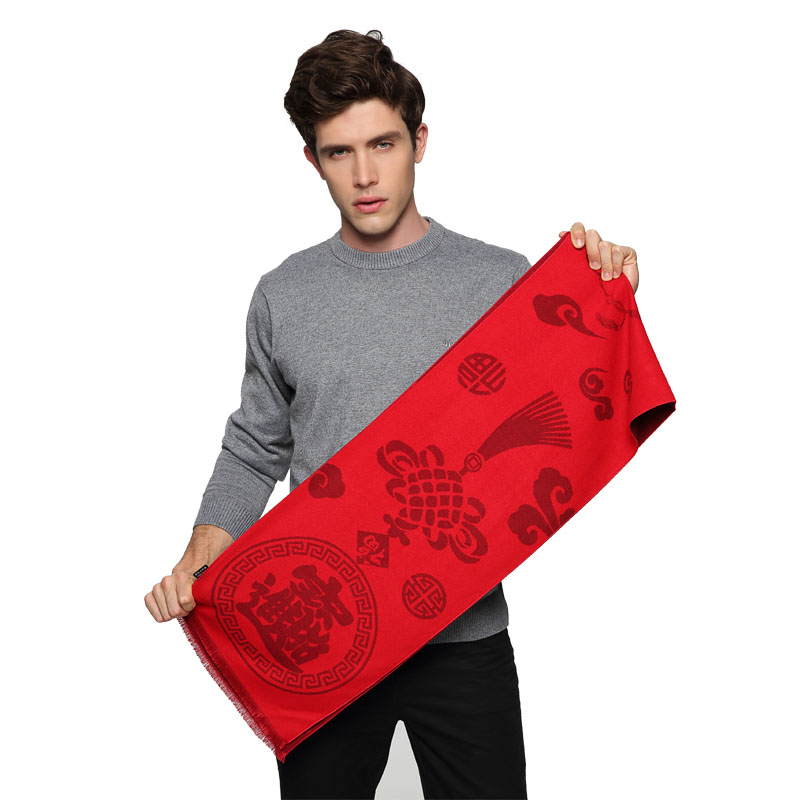 A-D302 中国红蚕丝绒围巾